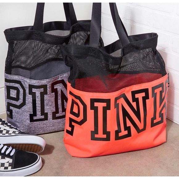2f471003209c RED Victoria s Secret PINK Mesh Tote Bag